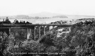 Auckland Harbour, Showing Grafton Bridge (built 1910)
