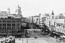 Queen Street, Auckland. Showing tower of Civic Theatre (first opened on 20 December 1929)