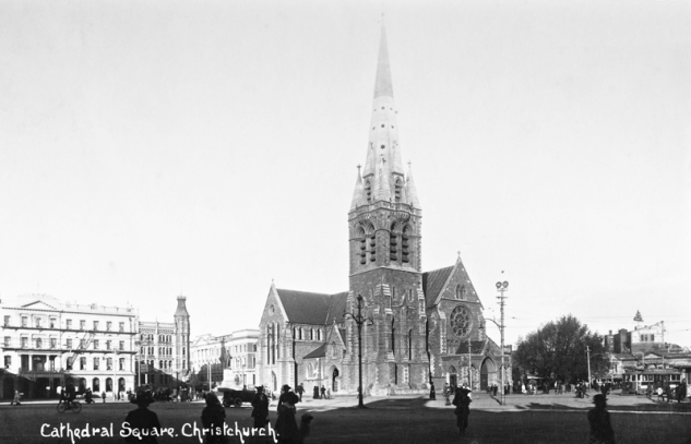 Cathedral Square with Christchurch Cathedral and The Press Building