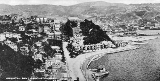 Oriental Bay, with St Gerard's Church (built 1908, Monastery built 1932)