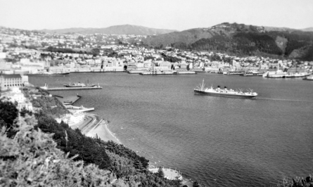 "Wellington Harbour, with the trans-Tasman liner ""Monowai"" arriving, circa 1960"