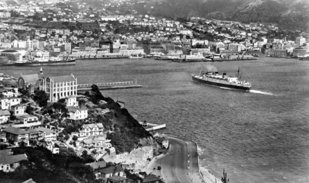 "Wellington Harbour, with Union SSCo's ""Awatea"" arriving, NZSCo's ""Tekoa"" is on the left. circa1940."