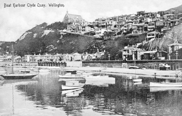 Boat Harbour, Oriental Parade, with St Gerard's Church (built 1908, Monastery built 1932) circa 1914