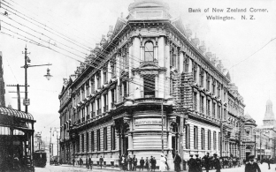 Bank of New Zealand building (The Old Bank Arcade) completed 1901, Stewart Dawson's Corner/Lambton Quay