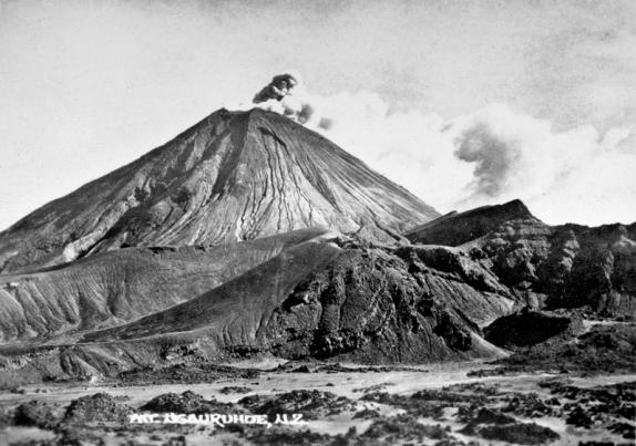 Mt Ngauruhoe during volcanic eruption