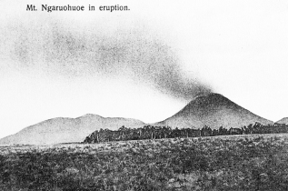 Mt Ngauruhoe during volcanic eruption