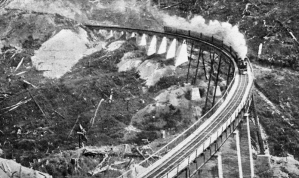Hapuawhenua Viaduct (built in 1907-1908). The Viaduct is 284 metres long and at its maximum it stands 45 metres high