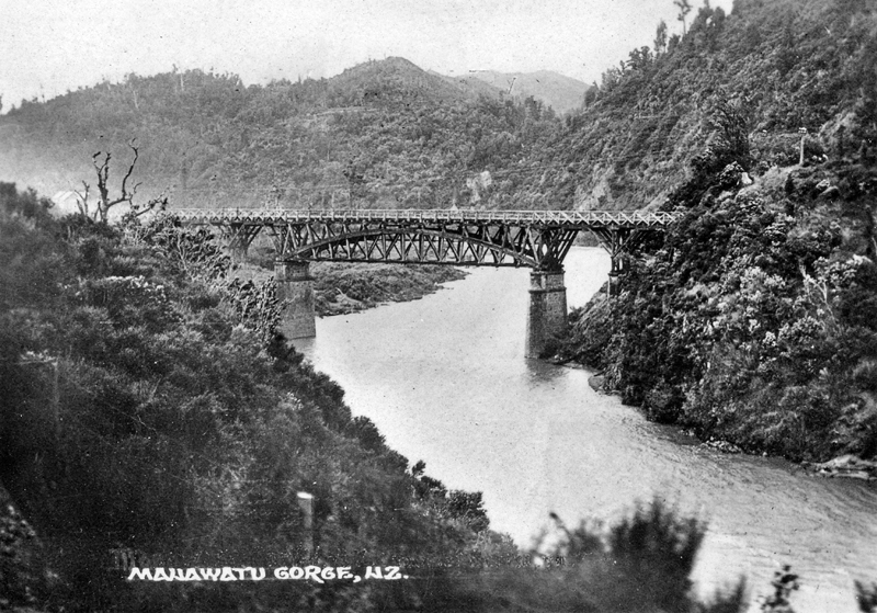 The Upper Manawatu Gorge Bridge (built during 1874 – 1875). This was replaced by a concrete structure by 1932