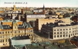 Looking south west from Ferry Buildings over city showing the Customs Buildings on the corner of Customs Street West and Albert Street, premises of New Zealand Loan and Mercantile Agency Company Limited on opposite corner, Alex Harvey and Sons Limited, Yates and Company, R H Hopkins, Criterion Hotel (on corner of Moore Street), Kempthorne Prosser and Company, Star Hotel (on corner of Swanson Street), and the Shakespeare Hotel (on the corner of Wyndham Street), St Matthews Church, Collin Brothers and the spire of St Patricks are seen (left to right, distance)